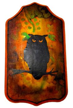 Halloween Owl Plaque
