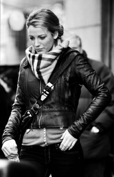 Burberry Scarf   Leather Jacket