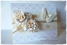 Wedding Card with Flores, emboss folder, pearls, and butterfly