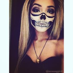 bones, costume, facepaint, girl, grunge, halloween, last minute, makeup, october, skeleton, skull, skullmakeup, diy costume, skullbandana, skullteeth, skullmouth