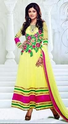 Shilpa Shetty Yellow Long Length Anarkali Suit
