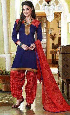 USD 28.46 Navy Blue Cotton Patiala Suit 44405
