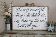 The Most Wonderful Thing I Decided To Do Wood Sign, Couples Framed Sign, Love Bedroom Art, Farmhouse Style Sign, Share My Life With You Sign Apartment Decorating For Couples, Couples Apartment, Men Apartment, Apartment Ideas, Diy Home Decor Bedroom, Bedroom Art, Bedroom Ideas, Master Bedrooms, Small Bedrooms