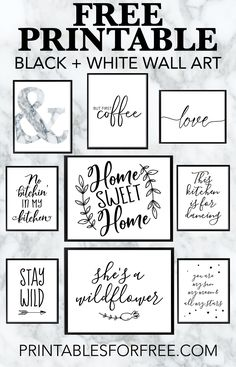 super Free Printable Black and White Wall Art – Laden Sie Ihre eigene Wandkunst herunter und drucken Sie sie aus Arte de pared en blanco y negro imprimible súper gratis: descargue su propio arte de pared e imprímalo Free Printable Quotes, Printable Wall Art, Free Poster Printables, Printable Pictures, Printable Kitchen Prints, Free Printables For Home, Daily Printable, Printable Scripture, Scripture Cards