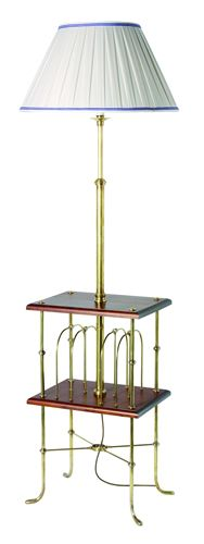 F2-033 - Magazine Rack Standard Lamp with 2 Cherrywood Tables