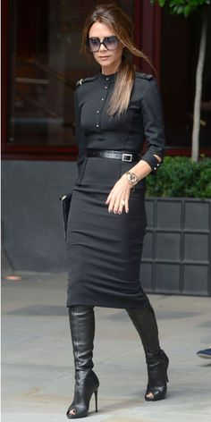 Victoria Beckham. Who else could get away with open-toed boots?