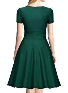 Women's Clothing, Dresses, Cocktail, Women's Retro Short Sleeve A-Line Cocktail Party Swing Dress - Green - Dresses For Teens, Dresses For Work, Dress Shirts For Women, Clothes For Women, Long Cocktail Dress, Blue Bridesmaid Dresses, Mode Hijab, 1940s Fashion, Formal Evening Dresses