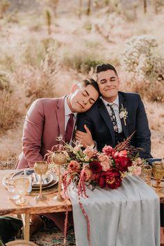 Floral bohemian elopement inspiration at Joshua Tree LGBTQ+ weddings gay wedding two grooms models National Park California Lgbt Wedding, Elope Wedding, Wedding Suits, Wedding Couples, Wedding Ceremony, Wedding Photos, Dream Wedding, Wedding Dress, Wedding Gazebo