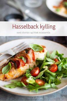 Hasselback kylling med chorizo og mozzarella - lækker KETO o Low Carb Recipes, Crockpot Recipes, Chicken Recipes, Breakfast Recipes, Dinner Recipes, Dessert Recipes, Mushroom Recipes, Casserole Recipes, Mozzarella