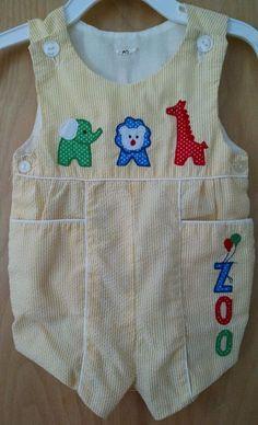 Vtg Baby Romper 3-6M Yellow Striped Seersucker Zoo Animals Jon Playsuit Doll #Handmade #DressyEveryday