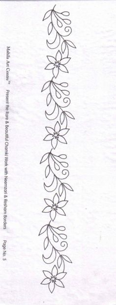 Border Embroidery Designs, Embroidery Flowers Pattern, Hand Embroidery Stitches, Ribbon Embroidery, Quilting Designs, Cross Stitch Embroidery, Machine Embroidery Designs, Hand Embroidery Videos, Cross Stitch Flowers