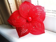 Big Red Bloom - French Beaded Flower Hair Clip. $49.00, via Etsy.