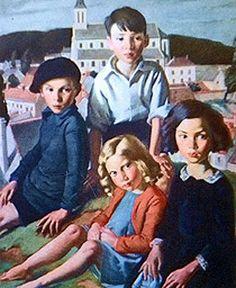 Children at Vernonnet, 1931 by Bernard Fleetwood-Walker R.A. (English 1893–1965)