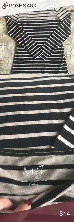 JCREW Factory Striped Artist Tee Good condition- see pictures for details. 100% Cotton J. Crew Factory Tops Tees - Long Sleeve