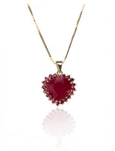 Gold & Ruby Heart Pendant & Chain - Available at Onyx Goldmsiths