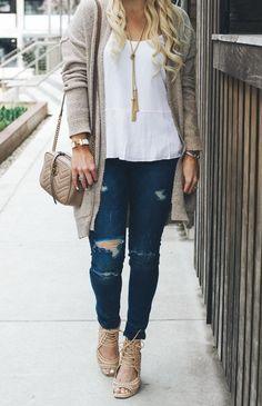 White tank, Long cardigan, distressed jeans, Gucci bag - Spring fashion