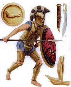 This hoplite rushes into battle wearing a traditional bell cuirass, supported by a mitra (belly guard) for extra defense, hanging from the bottom of his armour. For the protection of his legs, he wears both thigh guards and greaves, yet goes barefoot. At his side is a kopis (the kopis a little late to be with an archaic bell cuirass--JEB), while he carries his doru and aspis, which bears the device of the gorgoneion, which can also be an iteration of Phobos, personification of fear.