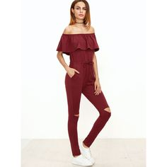 Burgundy Ruffle Off The Shoulder Knee Ripped Sweat Jumpsuit ($26) ❤ liked on Polyvore featuring jumpsuits, burgundy, jump suit, ruffle jumpsuit, ruffle romper, short jumpsuits and short romper
