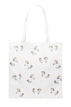 21ce176feff7 A woven canvas eco tote featuring a unicorn graphic print and shoulder  straps. Unicorn Graphic