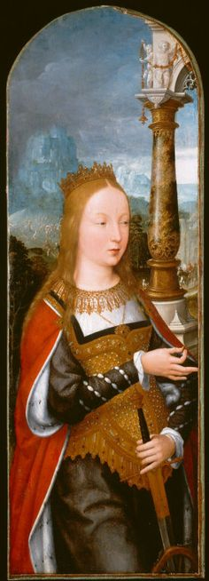 Jean Bellegambe French, c. 1470–1535/36  Saint Catherine, c. 1520  Oil on panel 32 1/2 x 11 1/16 in. (82.5 x 28.1 cm); painted surface 32 1/8 x 10 3/4 in. (81.5 x 27.3 cm)
