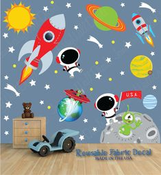 Space Wall Decal with Custom Name, Astronaut, Planets, Sun, Rocket (Space Scene DK) SP3S