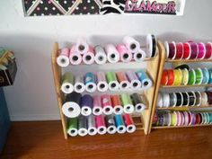 cd/dvd racks for ribbon storage! - Page 2 - Hip Girl Boutique Free Hair Bow Instructions--Learn how to make hairbows and hair clips FREE! Ribbon Organization, Ribbon Storage, Sewing Room Organization, Craft Room Storage, Dvd Storage, Storage Units, Craft Rooms, Storage Rack, Storage Drawers