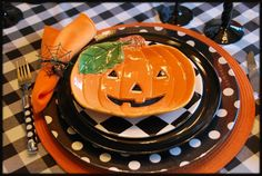 Two Whimsical Halloween Tablescapes - LOVE  the checks, polka dots, and harlequin mix
