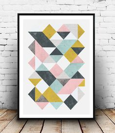 Abstrait art triangle Geoemtric Geoemtric affiche par Wallzilla