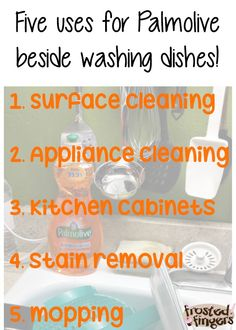Five dish soap uses besides washing dishes with Palmolive! Palmolive Dish Soap, Dish Detergent, Cleaning Appliances, Washing Dishes, Getting Things Done, Household, Stains, Hacks, Get Stuff Done