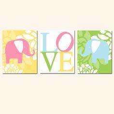 Modern Elephant Love Trio  Set of Three 11 x 14 Nursery by Tessyla, $59.50