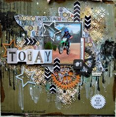 """Today I share with you my designing team work for Kaisercraft using the very funky boy's range """"Scrap Y. Scrapbook Designs, Scrapbook Page Layouts, Scrapbook Cards, Scrapbooking Ideas, Craft Fairs, Mixed Media, Crafts, Movie Nights, Montages"""