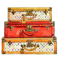 Watercolor Louis Vuitton Travel Trunks Multicolor Print. $10.00 #bags #fashion