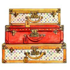 Watercolor Louis Vuitton Travel Trunks Multicolor Print. $10.00 #bags #fashion