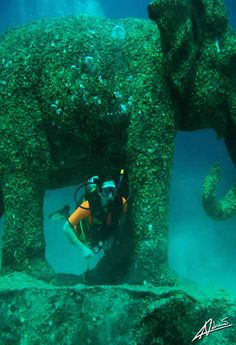 """Dive with the """"Elephants"""" in Siam Bay, Thailand  The elephant statues were commissioned to form an artificial reef"""