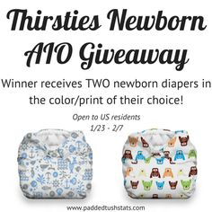 TWO Thirsties Newborn AIOs Giveway. Open to US residents, ends 2/7/15.