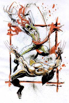 Lady Deathstrike vs Wolverine by Yildiray Cinar