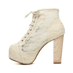White Lace Chunky Heel Ankle Boots Shoes$50 ($82) ❤ liked on Polyvore featuring shoes, boots, ankle booties, udobuy, thick heel booties, lace-up booties, bootie boots, short boots and white boots