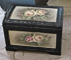 Black and floral distressed wood chest (love) #storage
