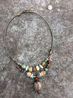 Organic Mahogany Pod Tribal Beads and Carnelian - Natural Turquoise Stones - Primitive Beads and Leather Necklace - Handmade by HollyBeanDesign on Etsy