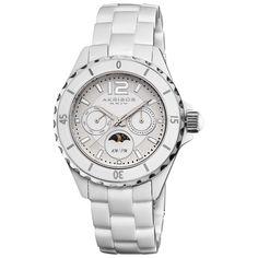Akribos XXIV Women's Ceramic Multifunction Moon Phase Bracelet Watch   Overstock.com