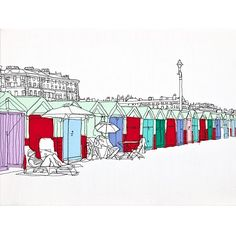 Gillian Bates - Beach Huts Bright, Stretched Canvas - My list of the most beautiful animals Seaside Beach, Beach Art, Beach Sketches, Most Beautiful Animals, A Level Art, Handmade Frames, Coastal Art, Watercolor Illustration, Watercolour