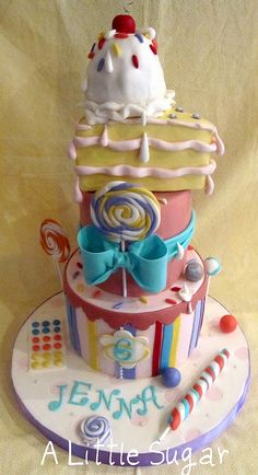 Adorable bday cake... So cute for a little girl's party:)