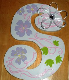 Handpainted Letter/Bow holder  intricate by jjpolcreations on Etsy, $58.00
