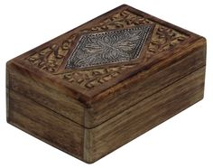 """Bulk Wholesale Handmade 6"""" Mango-Wood Jewelry Box / Keepsake Box in Dark-Brown Color Decorated with Carving of Traditional-Look Motifs & a Metal Sheet at the Top – Ethnic Look Boxes from India"""