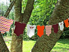 Your favorite team 'Onesie Garland Banner' ~ this would make a sweet addition to your baby shower, new mommy/daddy celebration, gender reveal party or your baby's nursery. This one is a favorite team from my state. Go Virginia Tech Hokies! GARLAND   Hokie ONESIE Baby Shower Paper by MissyMadeItDesigns, $12.00