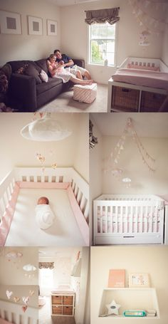 sweet pink and cream nursery with Baby Jives Co heart clouds  Gender accessories and changing table at end of cot