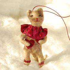 Valentine kitty Cat spun cotton ornament OOAK vintage by jejemae,