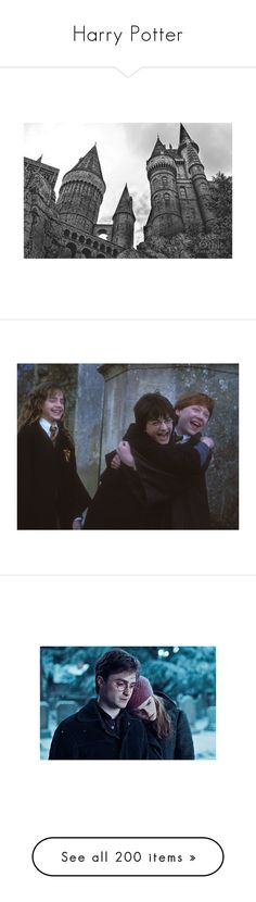 """""""Harry Potter"""" by leah1992 ❤ liked on Polyvore featuring home, home decor, wall art, backgrounds, harry potter, black white home decor, black and white photography wall art, black and white wall art, photography wall art and black and white home decor"""