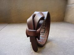 Dark Brown Leather Cuff / Bracelet Nickle-Free/vegetable tanned leather