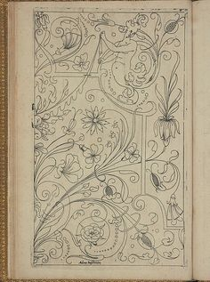 New Modelbüch (Page Andreas Bretschneider. Crewel Embroidery, Embroidery Patterns, Vintage Embroidery, Medieval Pattern, Boarder Designs, Art Nouveau Illustration, Pattern Coloring Pages, Book Of Kells, Sewing Art